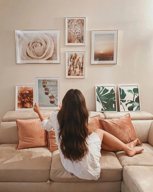 Living room gallery wall monstera prints flower wall art